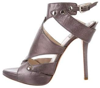 Christian Dior Leather Peep-Toe Pumps