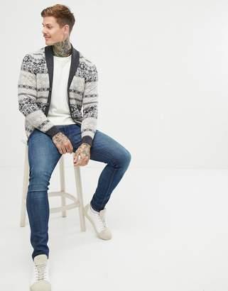 Asos Design DESIGN lambswool blend fairilse cardigan in grey