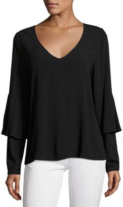 kensie Layered-Sleeve Crepe Shirt, Black $55 thestylecure.com