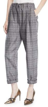 Brunello Cucinelli Plaid Wool Cropped Pants