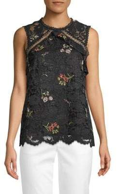 Laundry by Shelli Segal Floral Embroidered Lace Top