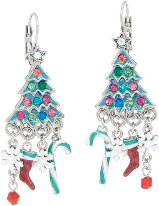 Kirks Folly Candy Cane Christmas Tree Earrings