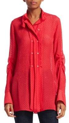 Carven Silk Sheer Button Front Shirt