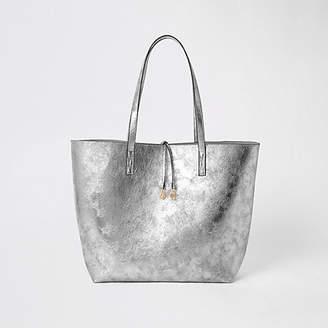 River Island Silver tote shopper bag