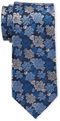Isaac Mizrahi Navy Large Flower Silk Tie