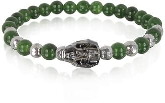 Swarovski Blackbourne Jade Irregular Stone Men's Bracelet w/Gunmetal Crystal Skull