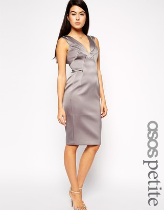 ASOS Petite ASOS PETITE Exclusive Seam Detail Bonded Satin Sexy Pencil Dress $103 thestylecure.com