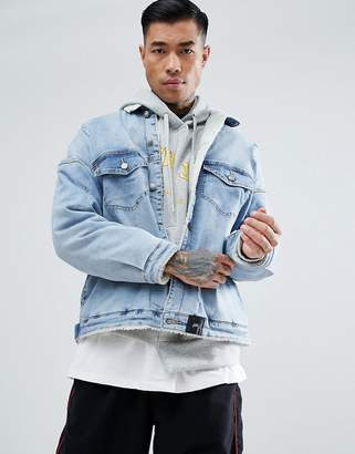 Sixth June Denim Jacket In Blue Wash With Fleece Lining And Collar