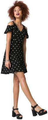 Le Château Women's Dot Print Knit Cold Shoulder Flounce Dress,S