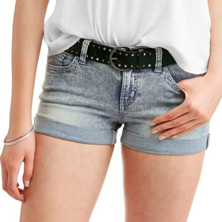 No Boundaries Juniors' Belted Double Rolled Cuff Denim Shorts