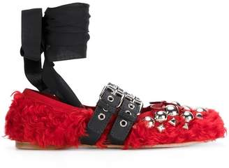 Miu Miu furry beaded ballerina shoes