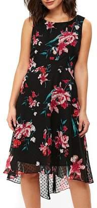 Wallis Dobby Floral Overlay Dress