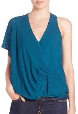 Haute Hippie One-Shoulder Silk Blouse