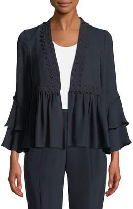 Neiman Marcus Kobi Halperin Nessa Ruffled Open-Front Silk Jacket