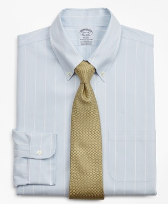 Brooks Brothers Stretch Regent Fitted Dress Shirt, Non-Iron Pinstripe