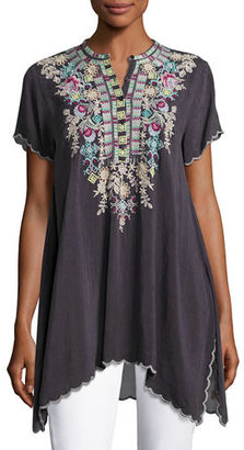 Johnny Was Livana Embroidered Short-Sleeve Tunic, Plus Size $240 thestylecure.com