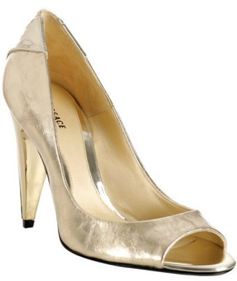 Versace gold metallic leather peep toe pumps