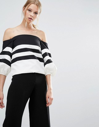Style Mafia Stripe Off Shoulder Top $113 thestylecure.com