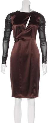 Thomas Wylde Mesh-Paneled Satin Dress