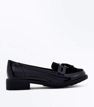 New Look Girls Black Patent Chunky Sole Loafers