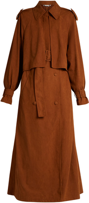Alter faux-suede trench coat