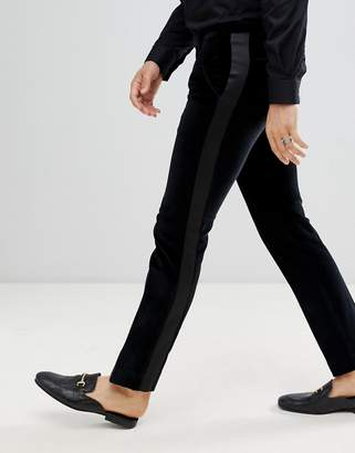 Twisted Tailor super skinny suit PANTS with side stripe in velvet