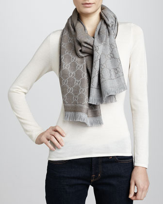 Gucci GG Woven Scarf, Light Gray