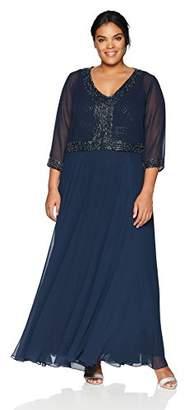 J Kara Women's Plus Size Jacket Dress with Beaded Trim