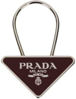Prada logo triangle keyring