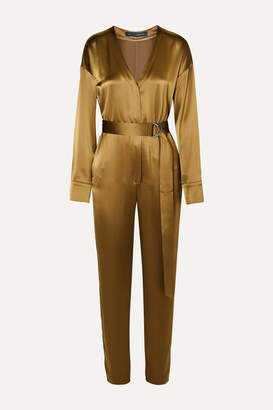 Sally LaPointe Belted Satin Jumpsuit - Bronze