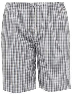 Zimmerli Checked Cotton Pyjama Shorts - Mens - Navy