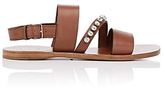 Miu Miu Women's Crystal-Embellished Leather Slingback Sandals - Brandy