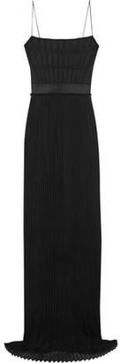 Stella McCartney Grosgrain-Trimmed Twill And Pleated Silk-Chiffon Gown