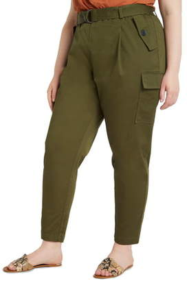 ELOQUII Sateen Stretch Cotton Cargo Pants