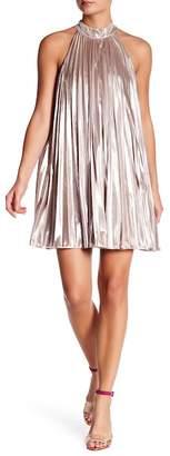 1 STATE 1.State Pleated Metallic Trapeze Dress