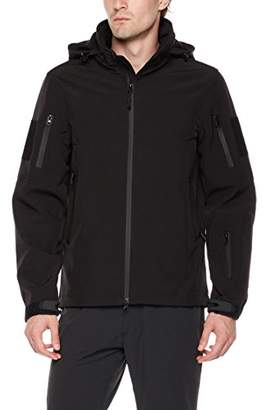 Royal Matrix Men's Concealed Hood Fleece-Lined Zip-Front Softshell Jacket with Pockets (S)