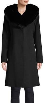 Fleurette Fox Fur Shawl Collared Wool Coat
