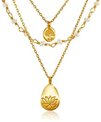 Satya Jewelry Freshwater Pearl Lotus and Tree of Life Triple-Chain Pendant Necklace (18-Inch)
