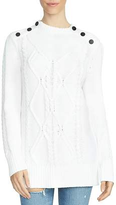 1.STATE Button Shoulder Cable Knit Sweater $119 thestylecure.com