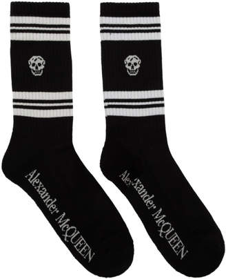 Alexander McQueen Black Stripe Skull Socks