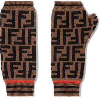 Fendi Intarsia Cashmere And Wool-blend Fingerless Gloves - Tan
