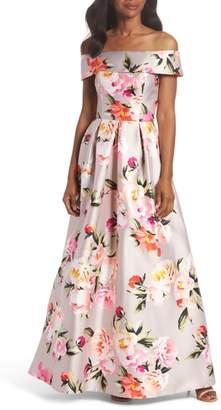 Eliza J Floral Off the Shoulder Mikado Gown