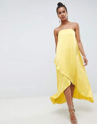 Asos DESIGN satin bandeau maxi dress in chartreuse