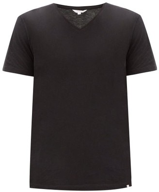 Orlebar Brown V Neck Cotton T Shirt - Mens - Black