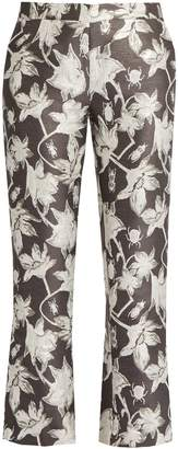 Osman Yasmin floral and bug-brocade cropped trousers