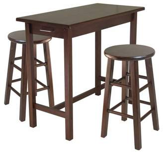 Winsome Wood Sally 3-Pc Breakfast Table Set with 2 Square Leg Stools