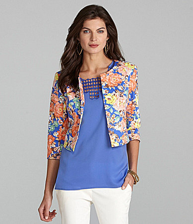 Gibson & Latimer Floral Printed Cropped Jacket