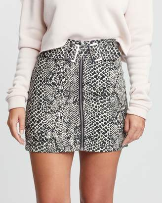 Topshop Snake Print Buckle Denim Skirt