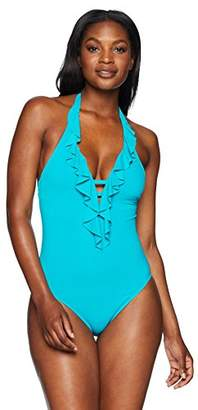 Bleu Rod Beattie Women's Plunge Ruffle One Piece Swimsuit
