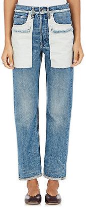 Helmut Lang Women's Inside-Out-Pocket Crop Jeans $345 thestylecure.com